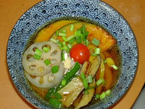 野菜の揚げびたしのっけ素麺